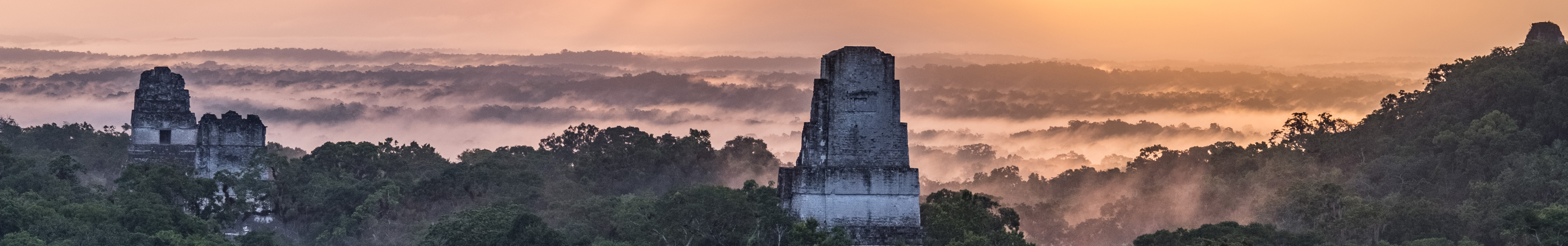 Guatemala landscape with temples, banner